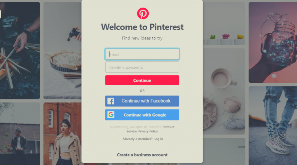How to sign up on Pinterest